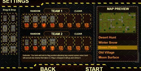 Tanks Battle Field V2.0 - HTML5 CAPX Game (Mobile Optimized)