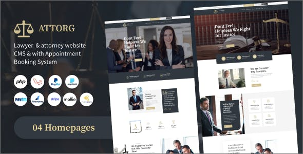 Attorg - lawyer & attorney website cms with Appointment Booking System PHP Scripts