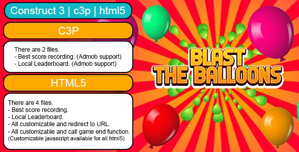 Blast The Balloons Endless Game (Construct 3 | C3P | HTML5) customizable and All Platforms Supported