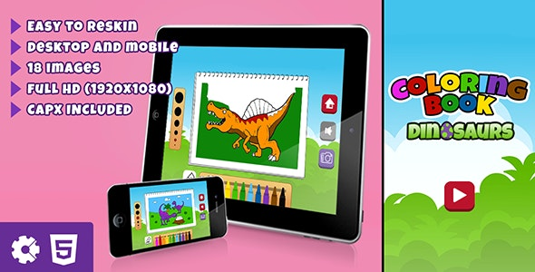 Dinosaurs Coloring Book - HTML5 Educational Game (.capx) - CodeCanyon Item for Sale