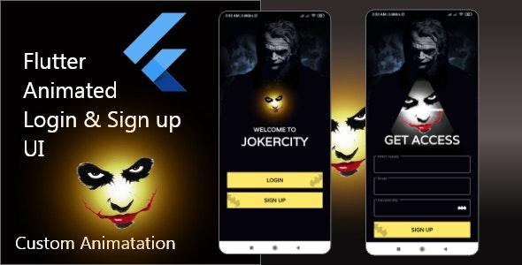 JokerCity | Flutter Animated Login &  Sign Up Ui | Custom Animation - CodeCanyon Item for Sale