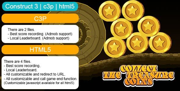 Collect The Treasure Coins Game (Construct 3 | C3P | HTML5) Customizable and All Platforms Supported