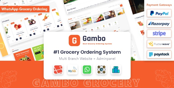 Gambo - Online Grocery Ordering System + Whatsapp Order - CodeCanyon Item for Sale