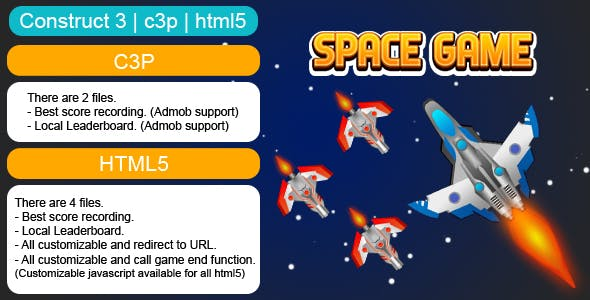 Space Endless Game (Construct 3 | C3P | HTML5) Customizable and All Platforms Supported