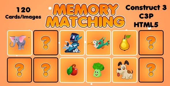 Memory Matching Picture Puzzle Game (Construct 3 | C3P | HTML5) Admob and FB Instant Support