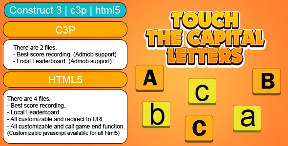 Touch The Capital Letters Game (Construct 3 | C3P | HTML5) Customizable and All Platforms Supported
