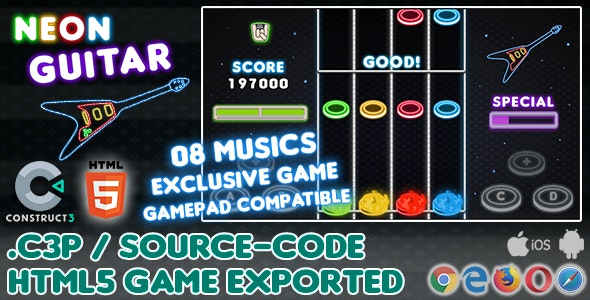 Neon Guitar HTML5 Game - With Construct 3 All Source-code - CodeCanyon Item for Sale