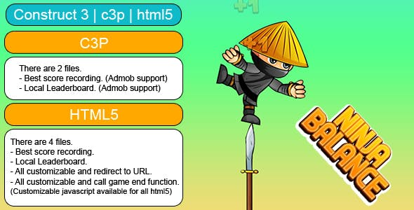 Ninja Balance Game (Construct 3 | C3P | HTML5) Customizable and All Platforms Supported