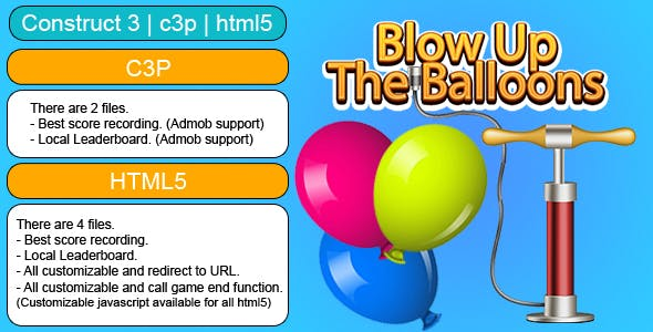Blow Up The Balloons Game (Construct 3 | C3P | HTML5) Customizable and All Platforms Supported