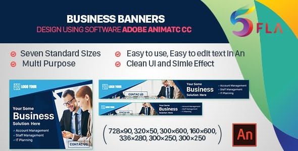 Business Banners HTML5 - 7 Sizes (Animate CC)