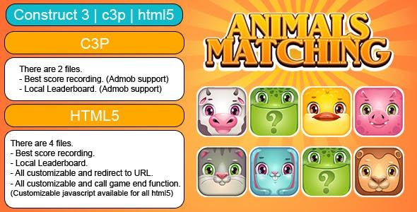 Animals Matching Game (Construct 3 | C3P | HTML5) Customizable and All Platforms Supported