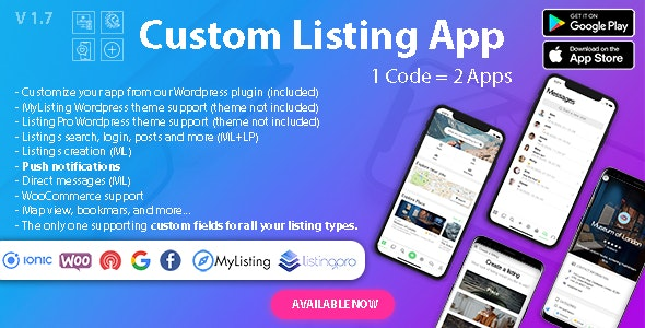 Custom Listing App - Directory Android and iOS mobile app with Ionic 5 for MyListing ListingPro - CodeCanyon Item for Sale