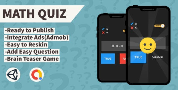Math Quiz (Unity+Admob+Android+IOS)