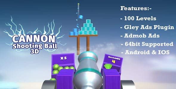 Cannon Shooting Ball 3d - Complete Unity Template(Android & IOS)