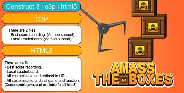 Amass The Boxes Game (Construct 3 | C3P | HTML5) Customizable and All Platforms Supported