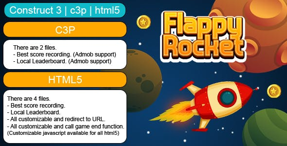 Flappy Rocket Game (Construct 3 | C3P | HTML5) Customizable and All Platforms Supported