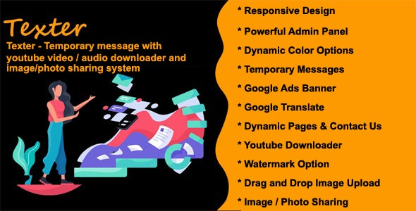 Texter - Temporary message with youtube video / audio downloader and image / photo sharing system - CodeCanyon Item for Sale