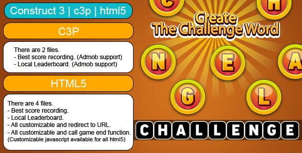 Create The Challenge Word  (Construct 3 | C3P | HTML5) Customizable and All Platforms Supported