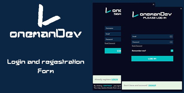 onemanDev - Login and Registration Form