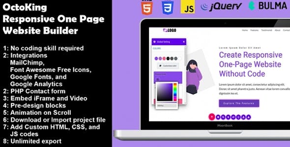 OctoKing - Drag and Drop One Page Website Builder