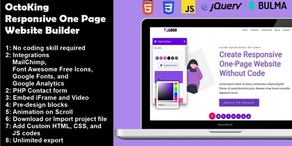 OctoKing - Drag and Drop One Page Website Builder - CodeCanyon Item for Sale