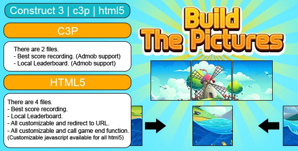 Build The Picture Game (Construct 3 | C3P | HTML5) Customizable and All Platforms Supported