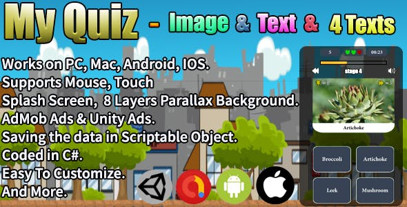 My Quiz - Image & Text & 4 Texts (Unity Complete Project + AdMob Ads & Unity Ads)