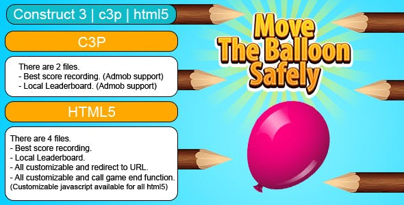 Move The Balloon Safely Game (Construct 3 | C3P | HTML5) Customizable and All Platforms Supported