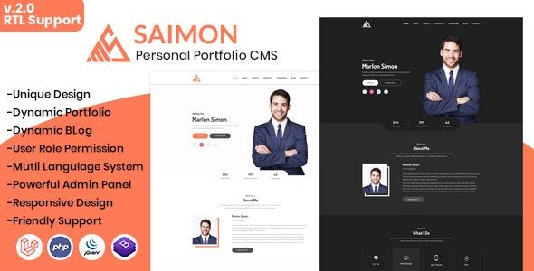 Saimon - Portfolio/CV/Resume CMS - CodeCanyon Item for Sale