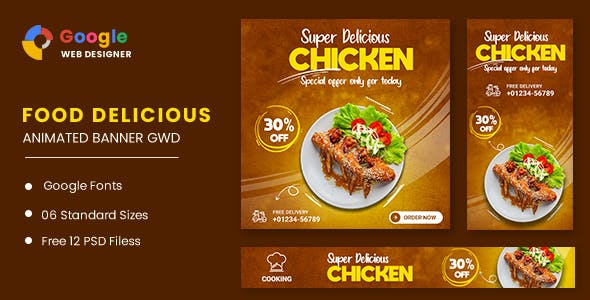 Food Chicken Animated Banner GWD