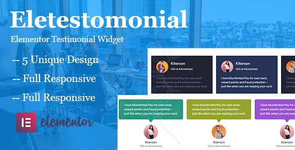 Eletestimonial - Testimonial Plugin For Elementor - CodeCanyon Item for Sale