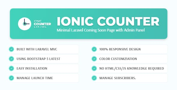 Ionic Counter - Laravel Coming Soon Page with Admin Panel