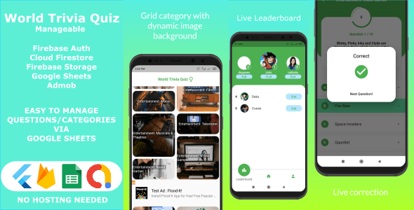 World Trivia Quiz - Flutter Full Application with Google Sheets Source