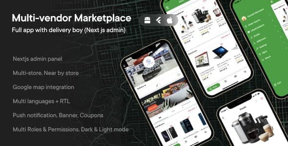 Multi-vendor Marketplace - full app with delivery boy (Next js admin)