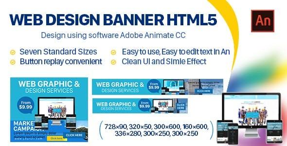 Web Design Banner HTML5 - 7 Sizes (Animate CC)