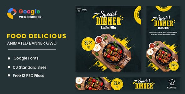 Food Dinner Animated Banner GWD