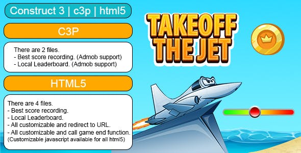 Takeoff The Jet Game (Construct 3 | C3P | HTML5) Customizable and All Platforms Supported