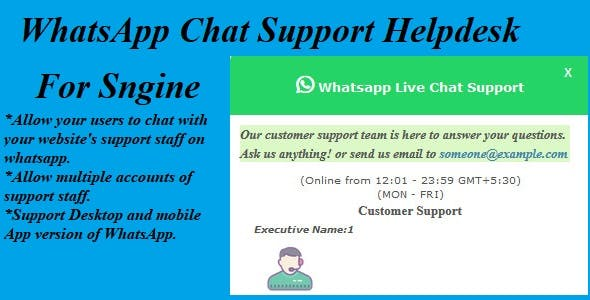WhatsApp Chat Support Helpdesk For Sngine