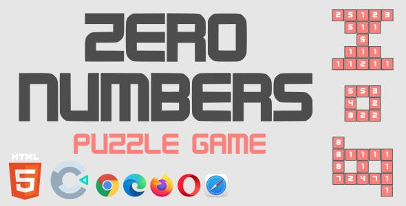 Zero Numbers - Puzzle Game - HTML5 (Construct 3)