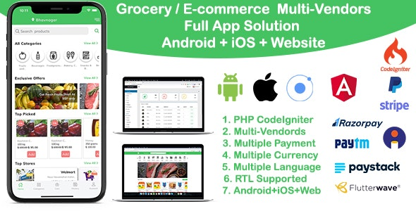 grocery / delivery services / ecommerce multi vendors(Android + iOS + Website) ionic 5 / CodeIgniter - CodeCanyon Item for Sale