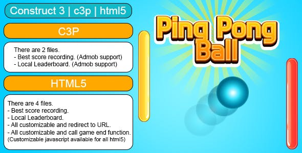 Ping Pong Ball Game (Construct 3 | C3P | HTML5) Customizable and All Platforms Supported