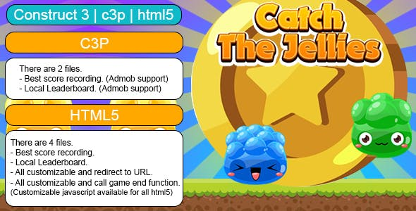 Catch The Jellies Game (Construct 3 | C3P | HTML5) Customizable and All Platforms Supported