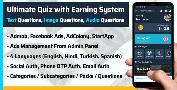 Ultimate Quiz with Earning System (Text, Images, Audio)