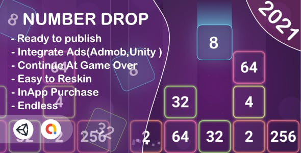 Number Drop(Unity Game+Admob+iOS+Android)