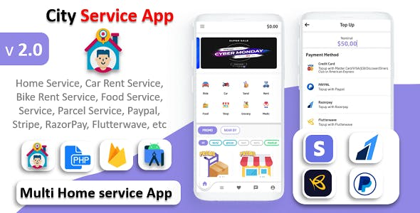 City Service App | Service At Home | Multi Payment Gateways Integrated | Multi Login