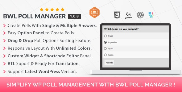 BWL Poll Manager - CodeCanyon Item for Sale