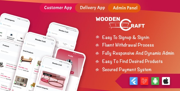 WoodenCraft -Furniture eCommerce Flutter Mobile App with Admin Panel Single Vendor - CodeCanyon Item for Sale