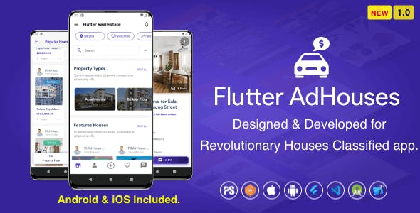 Flutter AdHouses For House Classified BuySell iOS and Android App with Chat ( 1.0 )