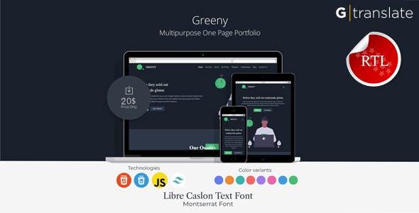 Greeny - Personal Portfolio Landing Page HTML Template