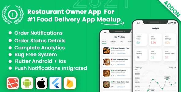 owner app for Multiple Restaurants Food Ordering Flutter App Mealup v4.0